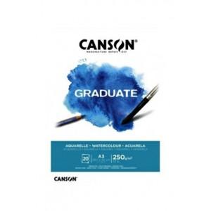 CANSON GRADUATE 250 GR A3 20YP AQUARELLA & WATERCOLOR BLOK