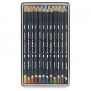 Derwent Watercolour Pencil Suluboya Kalem Seti 12`li Teneke Kutu