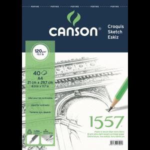 CANSON 1557 ESKİZ DEFTERİ 120 GR. ÜSTTEN SPİRALLİ A4 40 SAYFA