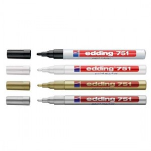 Edding 751 Hobi Sanat Dekorasyon Kalemi 4 Renk (Beyaz Gümüş Altın Siyah)