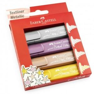 Faber Castell  Fosforlu Kalem Metalik Renkler 4 Lü Set