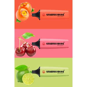 Stabilo Boss Yeni Pastel Renkler 3'lü Set (Coral-Cherry-Lime)