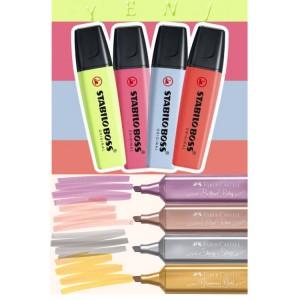 Yeni Pastel ve Yeni Metalik Renkli 4+4 Fosforlu Set Stabilo ve Faber-Castell