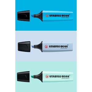 Stabilo Boss Mavi Aşkı 3'lü Set (Canlı Mavi- Pastel Azure Mavi- Pastel Mavi)