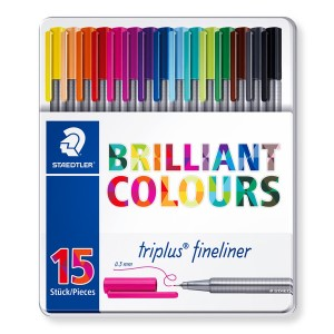 STAEDTLER 334 M15 TRİPLUS FİNERLİNER 0.3 MM 15'Lİ METAL KUTU