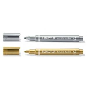 Staedtler Metalik Markör Altın ve Gümüş Rengi İkili Set 1-2mm