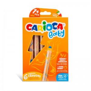 Carioca Jumbo Bebek Ahşap Gövdeli Boya Kalemi 3 In 1 6 lı Kalemtraş Hediyeli +1 Yaş