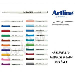 Artline 210 FİNELİNER 0.6 MM MEDİUM 20 RENK SET