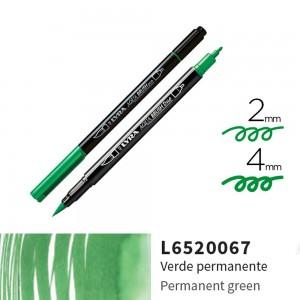 Lyra Aqua Brush Duo Çift ve Fırça Uçlu Çizim Kalemi - Permanent Green