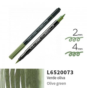 Lyra Aqua Brush Duo Çift ve Fırça Uçlu Çizim Kalemi - Olive Green
