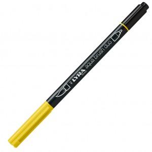 Lyra Aqua Brush Duo Çift ve Fırça Uçlu Çizim Kalemi - Light Chrome Yellow