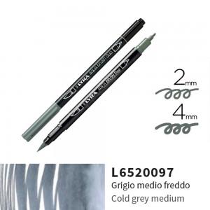 Lyra Aqua Brush Duo Çift ve Fırça Uçlu Çizim Kalemi - Cold Grey Medium