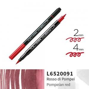 Lyra Aqua Brush Duo Çift ve Fırça Uçlu Çizim Kalemi - Pompeina Red