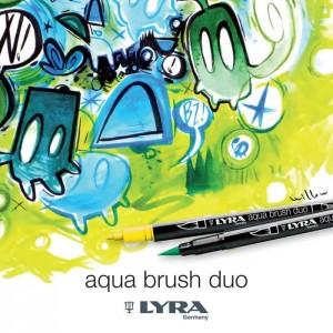 Lyra Aqua Brush Duo Çift ve Fırça Uçlu Çizim Kalemi - Cerulean