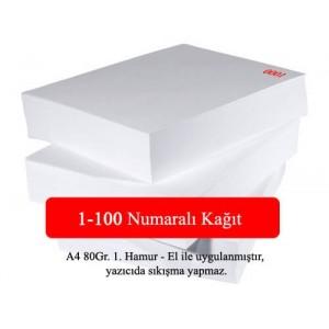 Numaralı A4 Kağıt 1-100