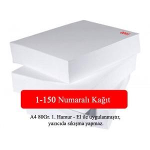 Numaralı A4 Kağıt 1-150