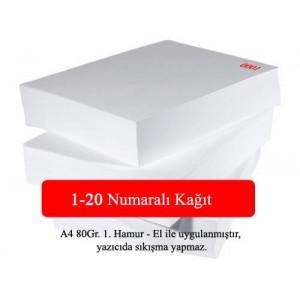 Numaralı A4 Kağıt 1-20-VERA